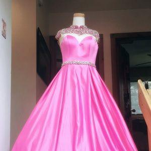 Jovani Hot Pink Beaded Ballgown